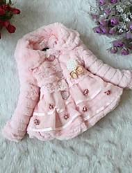 Girl's Fashion Lovely High Grade Imitation Fur Pearl Flower Maomao Cotton Padded
