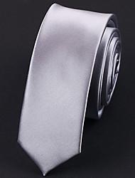 5 CM Wide Silver Silk Tie