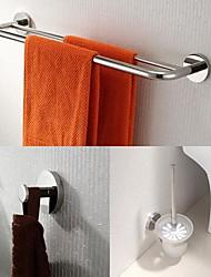 aço inoxidável 3 peças de acessórios de casa de banho set bar toalha e roupão gancho e titular escova de vaso sanitário