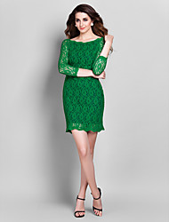 Cocktail Party / Prom / Holiday Dress - Vintage Inspired / Elegant Plus Size / Petite Sheath / Column Off-the-shoulder Short / Mini Lace