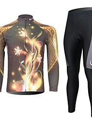XINTOWN Men's Flowers Light Quick Dry Moisture Absorption Long Sleeve Cycling Suit—Gold+Black