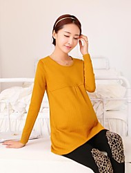 Maternity Round Collar Pure Sweater Bottoming Fashion Top