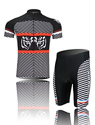 XINTOWN Men's White Tiger Quick Dry Moisture Absorption Short Sleeve Cycling Suit—Black+White