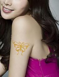 2Pcs Golden Butterfly Gold Glitter Tattoo Stickers Temporary Tattoos