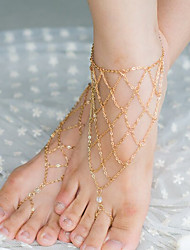 Shixin® Vintage Crystal Irregular Net Shape Barefoot Sandal(Golden,Silver,Bronze)(1 Pc)