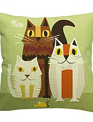 três gatos encantadores de algodão / linho fronha decorativo