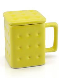 queijo biscoito caneca em forma com tampa cor aleatória cerâmica 7.6x7.6x10.5cm