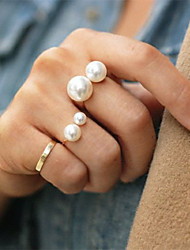 Shixin® Classic Double Pearl Band Ring(1 Pc)Random Size