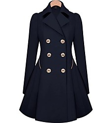Women's Solid Blue/Beige Trend Coat,Casual Long Sleeve Cotton Button