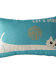 Cartton Long-body Cat Cotton/Linen Decorative Pillow Cover