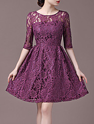 Red Halo Women's Round Neck Lace Half Sleeve Dress