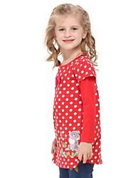 puntini colletto tondo vestito polka ragazza vestono animal cartoon ricamo rosso bambini manica lunga veste stampa casuale