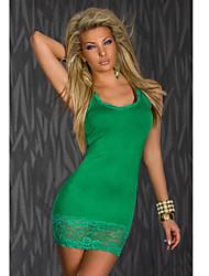m&cinta w cor sólida rendas equipado dress_112