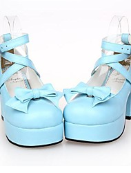 pu 8 cm de cuero zapatos de tacón alto dulce lolita con fila