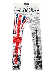 la moda de la torre Eiffel de impresión Inglés bandera blanca pantalones vaqueros de los hombres