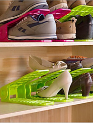 Adjustable  Space-Saving Design Plastic Shoes Rack & Hanger One Pairs(More Color)