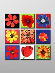 Hand Painted  Floral  Oil Painting with Stretched Frame Set of 9