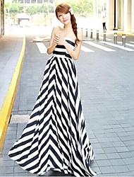 Women's Strapless Stripe Beach Swing Maxi Dress