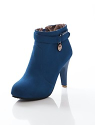 Women's Shoes Suede Fall / Winter Fashion Boots Party & Evening Chunky Heel Zipper Black / Blue / Burgundy