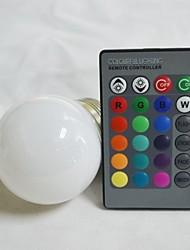RGB LED ampoule avec télécommande - blanc argent (AC85-265V) 220lm 3w e14