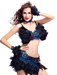 Samba Dresses Women's Feathers Crystals/Rhinestones / Lace Dark Purple / Royal Blue Performance / Samba