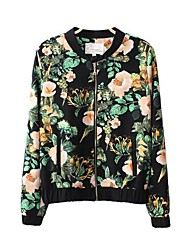 Women's Floral Print Jacket Cut Coat