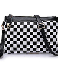 BINLUNNU Fashion Contrast Color Check Crossbody Bag (Black)