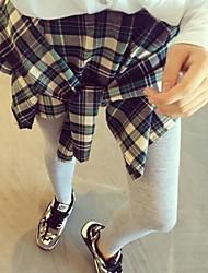 Women's Autumn False Two Pieces Leggings with Plaid Skirt