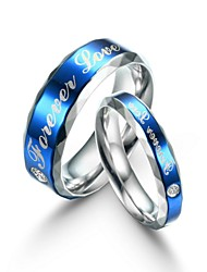 Fashion Lovers Titanium Steel Blue Surface Finger Ring Forever Love