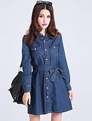 casuale vestito lungo denim moda femminile