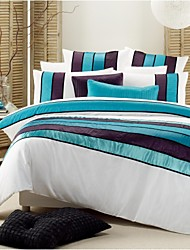 HOMEMOD®12001 Quilt Cover Set 3pcs-Miami:Poly/Cotton Combed Fabric 40s Stain Plain Dyed+Taffta Crinkle+Ribbon