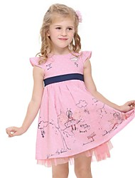 vestito della principessa vestiti dei bambini vestiti complessivi manica pois stampa abito rosa berretto estivo stampa casuale