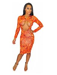Micolor Leopard Printed Long Sleeve Bodycon Dress