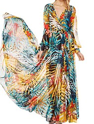 Women's V Neck Print Chiffon Maxi Dress