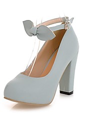 Women's Shoes Round Toe Chunky Heel Pumps with Ankle Strap Dress Shoes More Colors Available