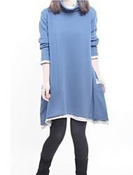 Maternity High Neck Piping Stitching Long Sleeve Dress