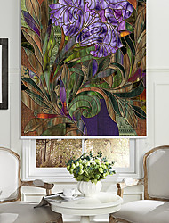Abstract Style Purple Flower Roller Shade