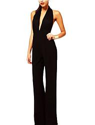 Frauen Die geraden Zylinder Thin Section Baumwolle Schlank Halter Solid Color siamesische Hosen