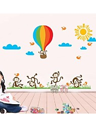ZOOYOO® removable beautiful day and fire balloon with monkeys wall sticker home decor wall stickers for kids room