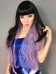 Black & Purple Assorted Colors Style Long Curly 70cm Women's Halloween Party Wig