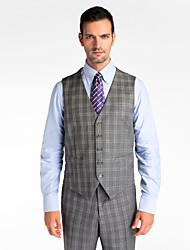 Gray 100% Wool Tailored Fit Vest