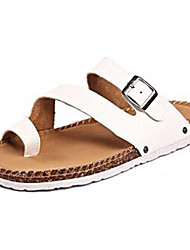Men's Spring Summer Slingback Toe Ring Leatherette Casual Flat Heel White Brown