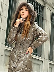 OSA® Women's Winter Fur Collar Pure Color Pleated Thickening Long Slim Down Outerwear