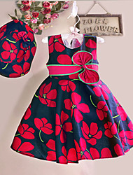 Girl's Floral Dress,Cotton Summer / Spring Red