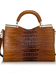 BLKL Fashion Crocodile Pattern Patent Leather Handbag Handbag (Brown)