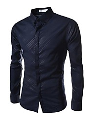 Mens Casual Slim Fit Stripe Stretchy Shirts