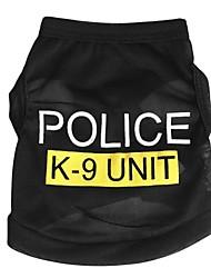Gatos Perros Camiseta Ropa para Perro Verano Primavera/Otoño Policía/Militar Adorable Moda Negro Azul Rosa