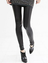 Women's Winter PU Leather Fleece Lined Warm Leggings