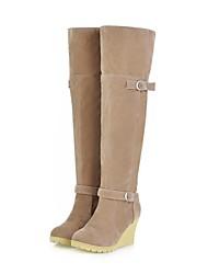 sapatos femininos rodada toe salto cunha reunindo joelho botas altas mais cores disponíveis
