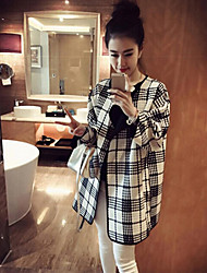 Qieyuan Check Loose Long Sleeve Coat_52